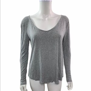 H&M  Round Neck Long Sleeve Solid Gray Tee